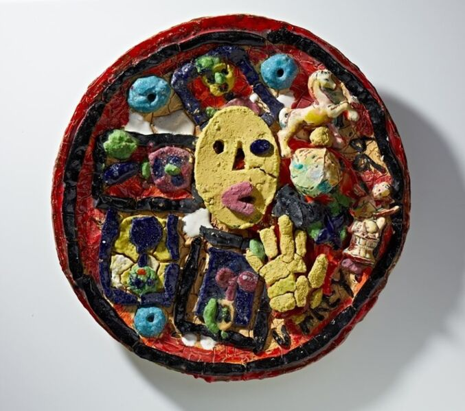 Viola Frey, 'Untitled (Plate with Yellow Oval Face & Hand)', 1994