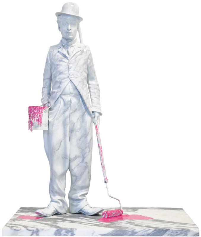 Mr. Brainwash, 'Chaplin Splash - Pink', 2020, Sculpture, Marble-Painted Bronze Sculpture with Acrylic Splashes, Deodato Arte