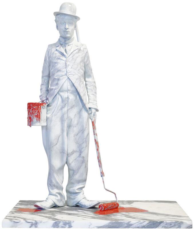 Mr. Brainwash, 'Chaplin Splash - Red', 2020, Sculpture, Marble-Painted Bronze Sculpture with Acrylic Splashes, Deodato Arte
