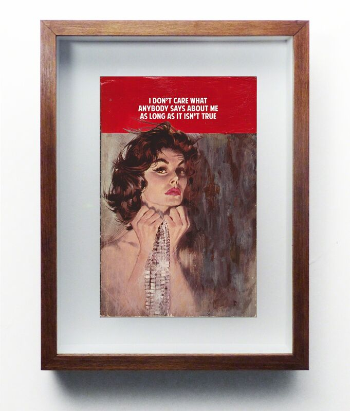 The Connor Brothers, 'I don't care what anyone says about me as long as it isn't true', 2015, Drawing, Collage or other Work on Paper, Acrylic and silk screen on vintage book (framed), Nanda\Hobbs