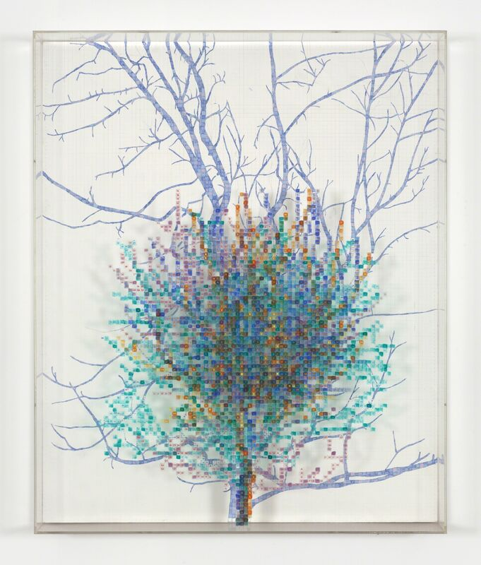 Charles Gaines, 'Numbers and Trees II, Spike #4', 1987, Drawing, Collage or other Work on Paper, Watercolor, ink, and pencil on Masonite and acrylic sheet, Hammer Museum