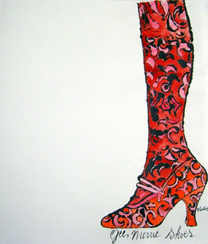 Andy Warhol, 'Gee, Merrie Shoes (Red)', 1956, Drawing, Collage or other Work on Paper, Unique offset lithograph & watercolor on Mohawk paper, Collectors Contemporary