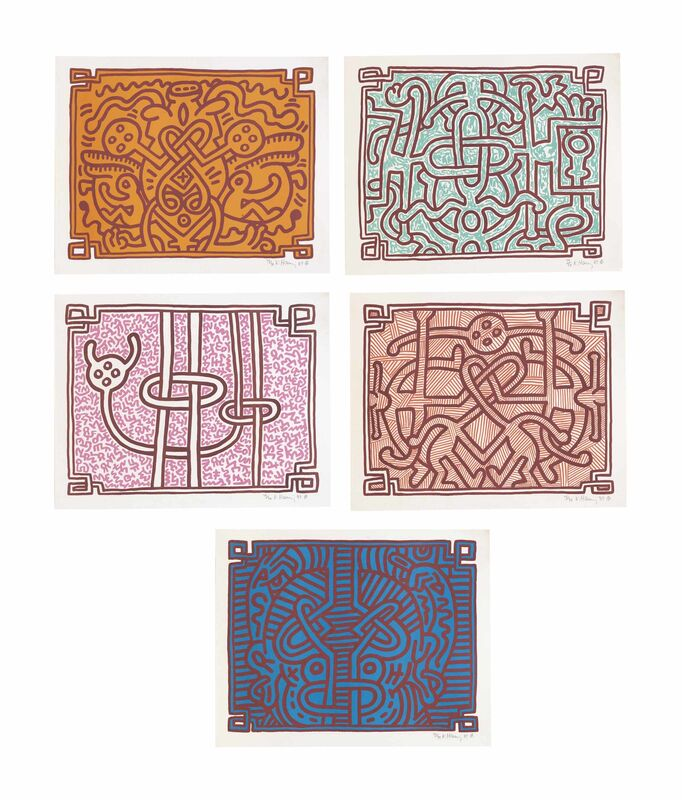 Keith Haring, 'Chocolat Buddah Portfolio ', 1989, Print, 5 lithographs on paper in portfolio, Rita Krauss Fine Art FLA.