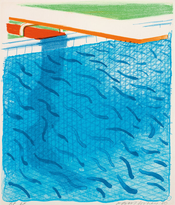 David Hockney, 'Pool Made with Paper and Blue Ink for Book, from Paper Pools', 1980, Print, Lithograph in colours, on Arches Cover paper, the full sheet., Phillips