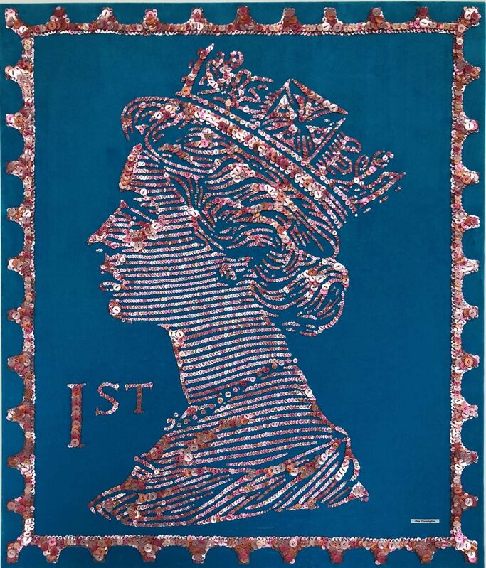 Ann Carrington, 'Pearly Queen Of Poppins Court', 2021, Textile Arts, Buttons hand sewn onto blue velvet, The Drang Gallery