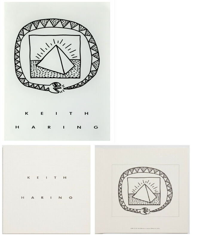 Keith Haring, '2 PIECE SET- Keith Haring Memorial Exhibition Invitation & Catalogue, 1990, Tony Shafrazi Gallery NYC.', 1990, Ephemera or Merchandise, Lithograph on paper, VINCE fine arts/ephemera