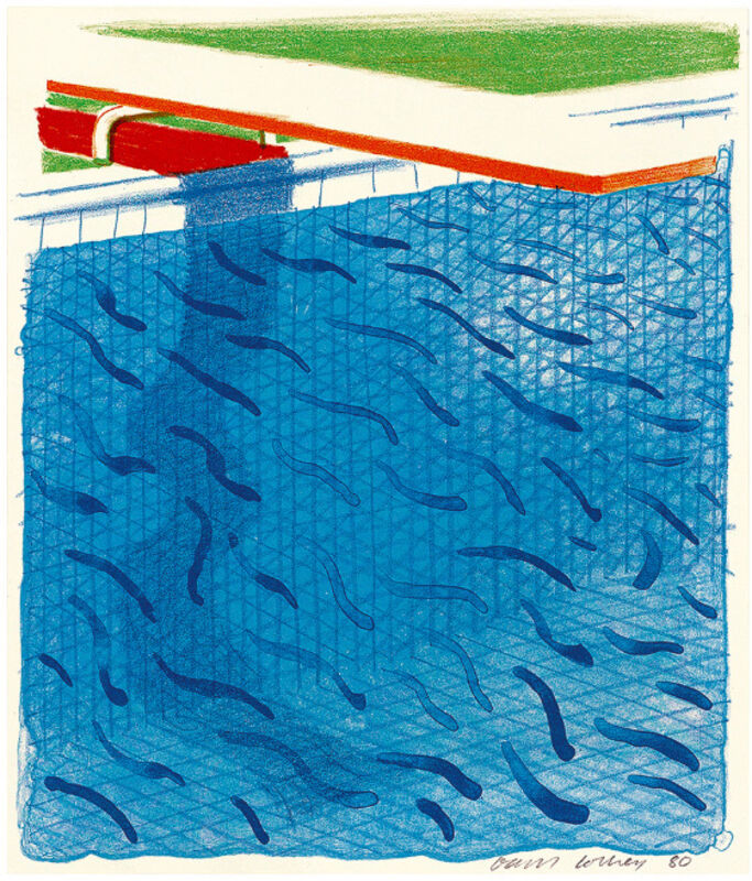 David Hockney, 'Pool Made with Paper and Blue Ink for Book', 1980, Print, Lithograph printed in colours, Artree