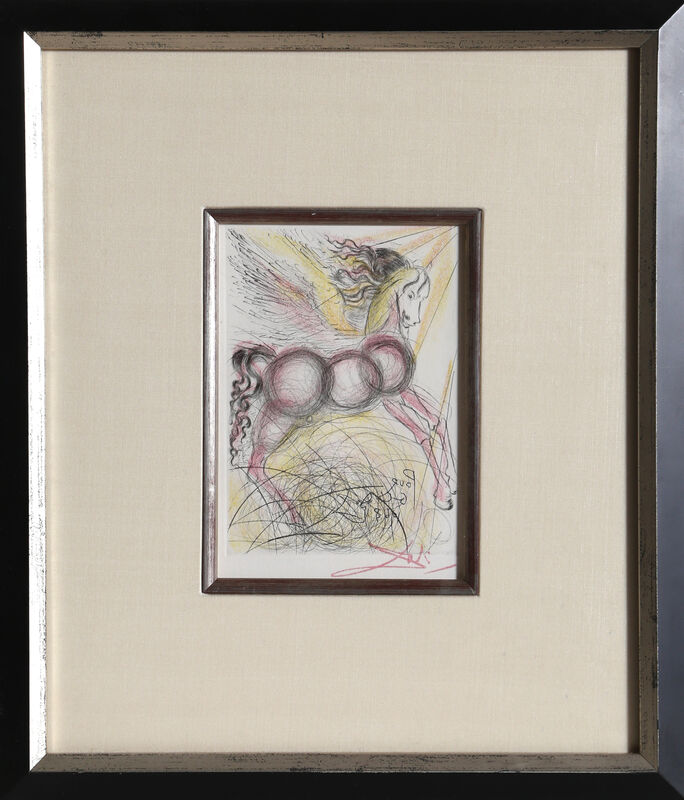 Salvador Dalí, 'Pegasus (Color)', 1968, Print, Etching, signed in the plate (with added facsmilie signature below image, RoGallery