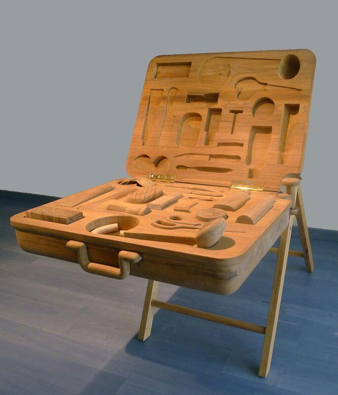 Sudarshan Shetty, 'Combat kit', 2011, Sculpture, Teak wood, GALLERYSKE