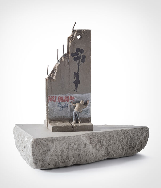 Banksy, 'Walled Off Hotel - Two Part Souvenir Wall Section (Girl With Balloons)', Sculpture, Hand painted resin sculpture with West Bank Separation Wall base, Tate Ward Auctions