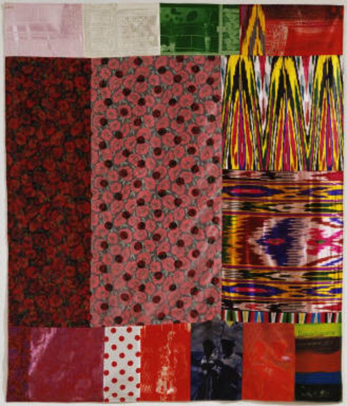 Robert Rauschenberg, 'Samarkand Stitches I', 1988, Print, Screenprint and fabric collage, Upsilon Gallery