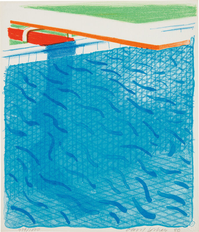 David Hockney, 'Pool Made with Paper and Blue Ink for Book, from Paper Pools', 1980, Print, Lithograph in colors, on Arches Cover paper, the full sheet., Phillips