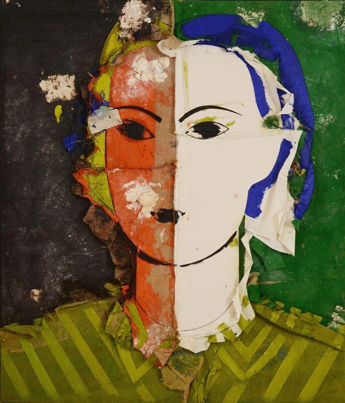 Manolo Valdés, 'Retrato sobre fondo verde y negro', 2013, Painting, Oil on burlapp, Marlborough Fine Art