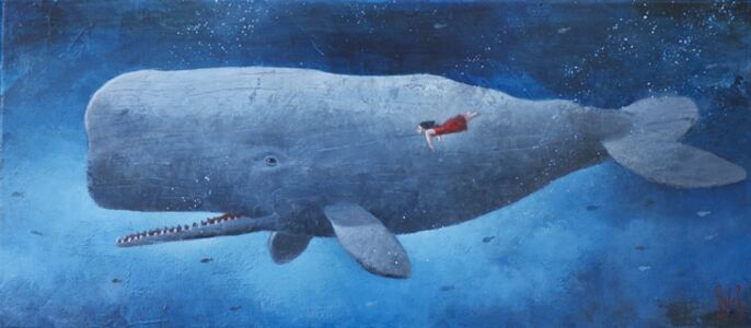 Sylvain Lefebvre, 'S.D.W n°11 : The red dress girl with the grey whale', 2020