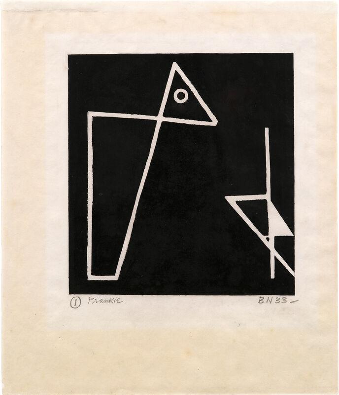 Ben Nicholson, 'Foxy & Frankie (C. 2, see P.Q. II.2)', 1933, Print, Linocut in black oil paint, on wove paper, with full margins., Phillips