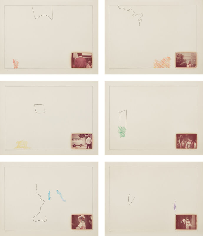 John Baldessari, 'Raw Prints (D. pp. 185-187, H. 3-8)', 1976, Books and Portfolios, The complete set of six lithographs in colors with hand-tipped color photograph and embossing, on Arches paper, with full margins, lacking the colophon and original carboard portfolio box., Phillips