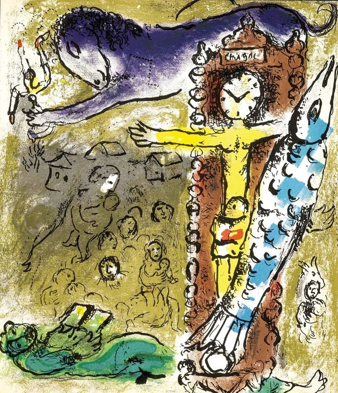 Marc Chagall, 'Christ in the Clock (Jacques Lassaigne, M.196)', 1957, Print, Lithograph, Martin Lawrence Galleries