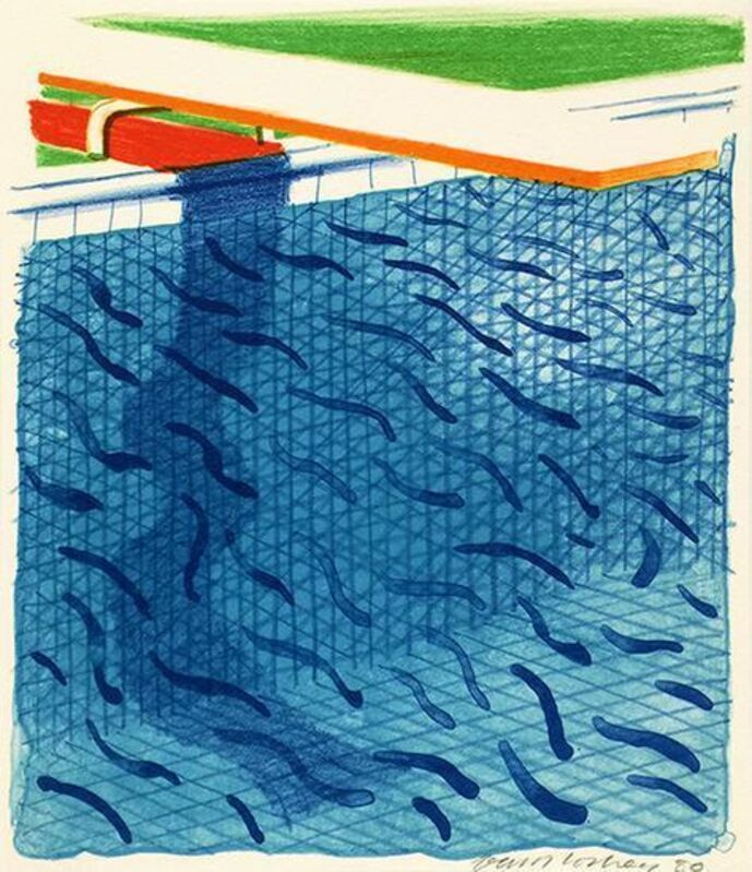 David Hockney, 'Pool Made with Paper and Blue Ink for Book of Paper Pools', 1980, Print, Lithograph in colors, Upsilon Gallery