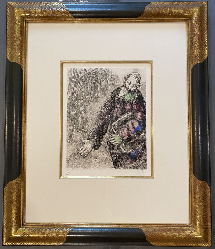 Marc Chagall, 'Joshua Reading the Words of the Law, from The Bible Etchings', 1958, Print, Etching with watercolor on Arches wove, Georgetown Frame Shoppe