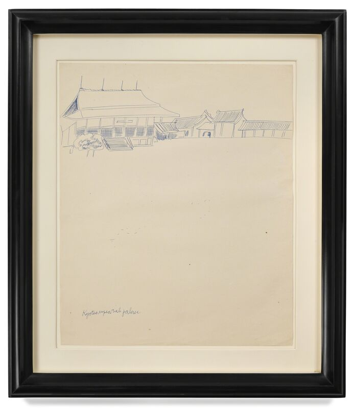 Andy Warhol, 'Kyoto Imperial Palace', 1956, Drawing, Collage or other Work on Paper, Blue ballpoint on manila paper, DELAHUNTY