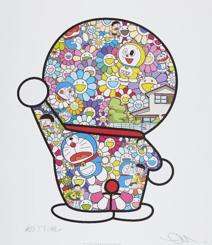 Takashi Murakami, 'Doraemon in the Field of Flowers', 2018, Print, Offset lithograph in colours on satin wove, Roseberys