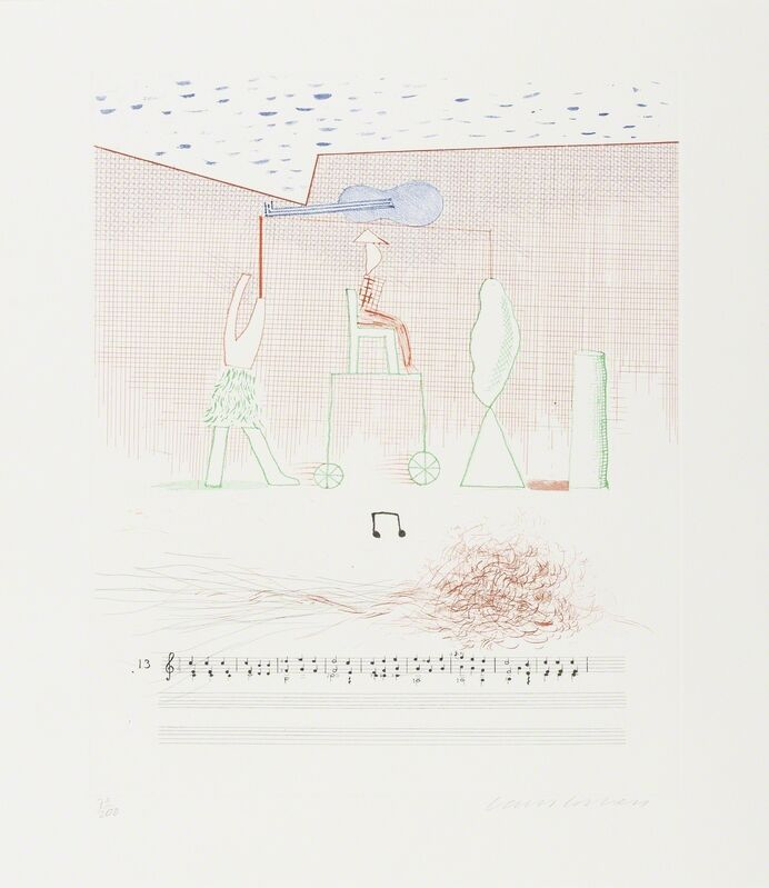 David Hockney, 'Parade (M.C.A.Tokyo 183)', 1976-77, Print, Etching with aquatint printed in colours, Forum Auctions