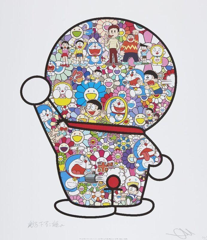 Takashi Murakami, 'Mr. Fujiko F. Fujio and Doraemon Are in the Field of Flowers', 2018, Print, Offset lithograph in colours on satin wove, Roseberys