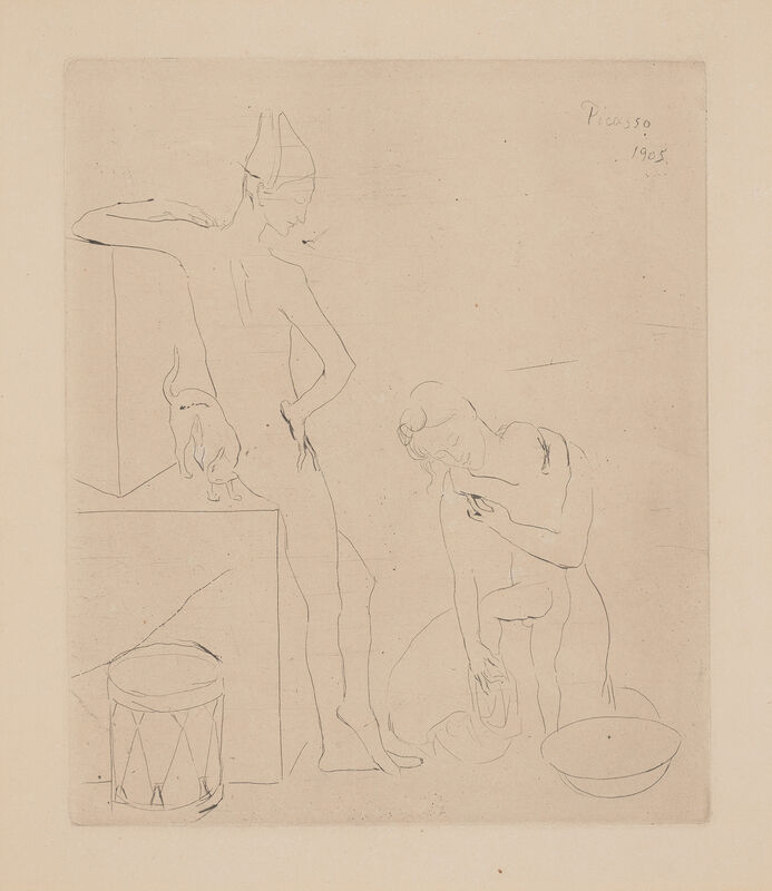 Pablo Picasso, 'Le Bain, plate 12 from La Suite des Saltimbanques (The Bath, from The Acrobats Suite)', 1905, Print, Drypoint, on Van Gelder Zonen paper, with full margins., Phillips