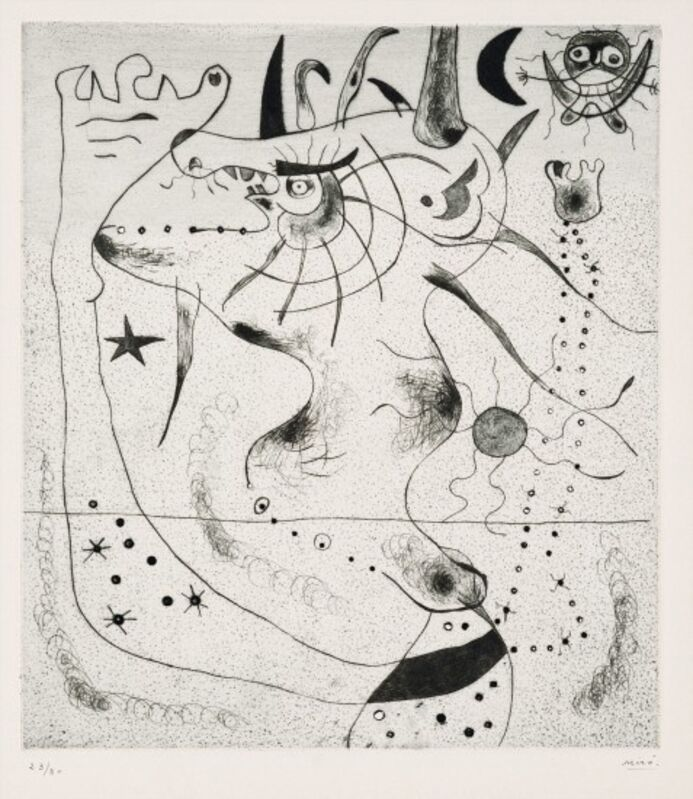 Joan Miró, 'L'Eveil du géant', 1938, Print, Drypoint, printed in black on Arches paper, Isselbacher Gallery
