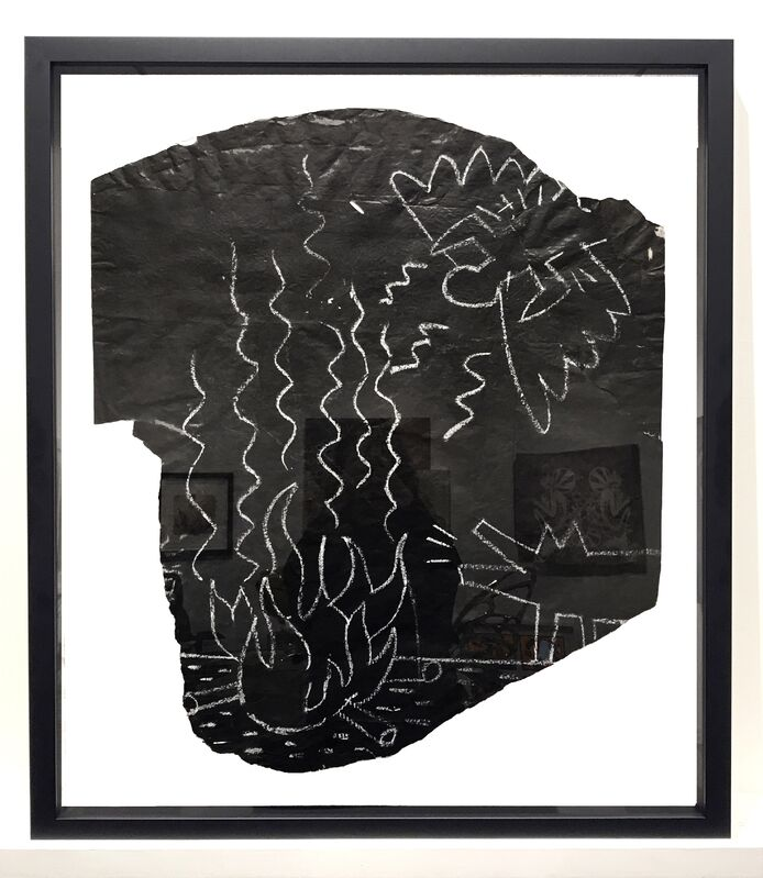 Keith Haring, 'Untitled (Angel and Barking Dog at Camp Fire)', 1982, Drawing, Collage or other Work on Paper, Original subway chalk drawing (Double sided image mounted in frame), Taglialatella Galleries