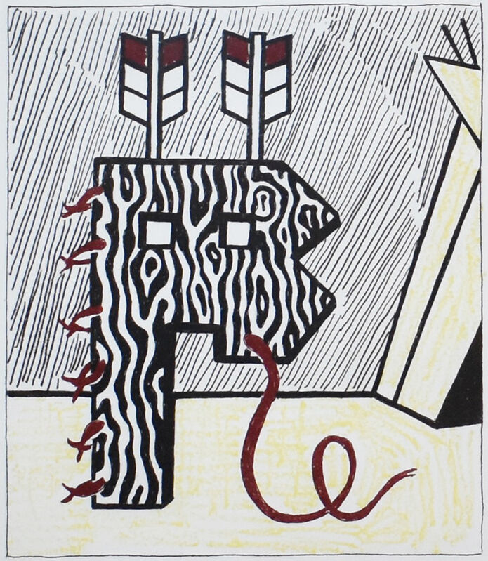 Roy Lichtenstein, 'Figure With Teepee', 1980, Print, Original soft-ground etching and engraving on mold-made Lana paper, Georgetown Frame Shoppe