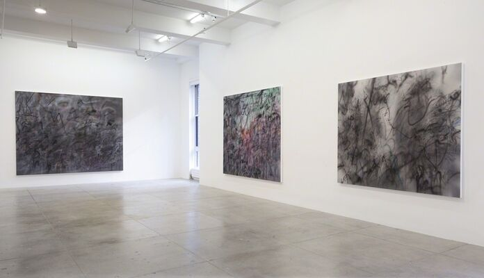 Julie Mehretu: Hoodnyx, Voodoo and Stelae, installation view