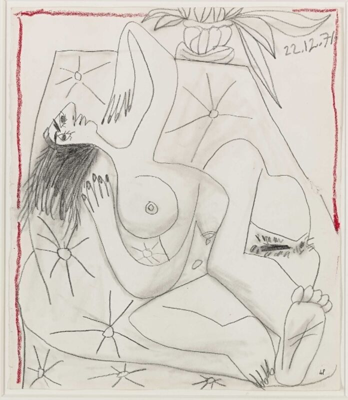 Pablo Picasso, 'WOMAN', 1971, Drawing, Collage or other Work on Paper, Pencil and red crayon on paper, Shoichiro/Projekcts by Projects