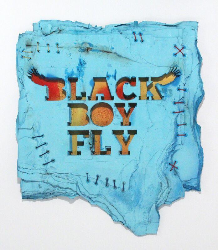 Robert Hodge, 'Black Boy Fly', 2016, Mixed Media, Mixed media on reclaimed paper, Freight + Volume