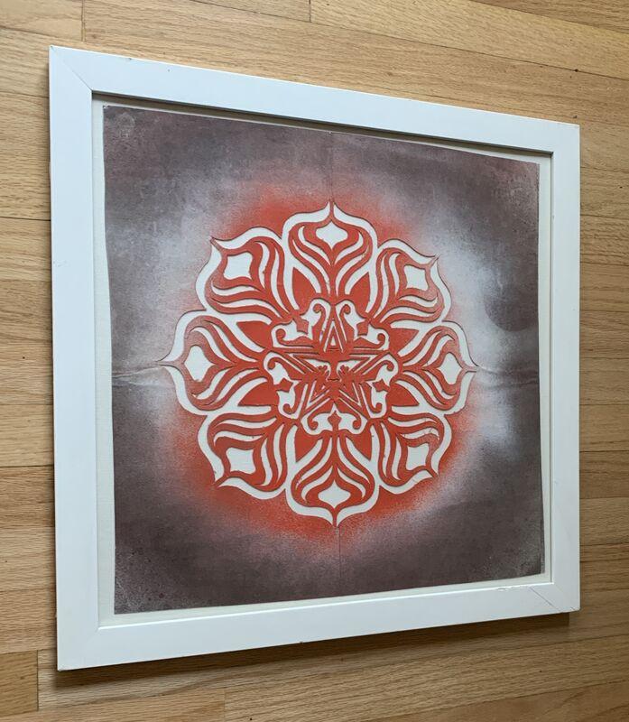 Shepard Fairey, 'Untitled (Original Obey Giant Lotus Stencil Matrix)', ca. 2005, Ephemera or Merchandise, Aerosol spray paint on cut fabric/leather stencil matrix, Kwiat Art
