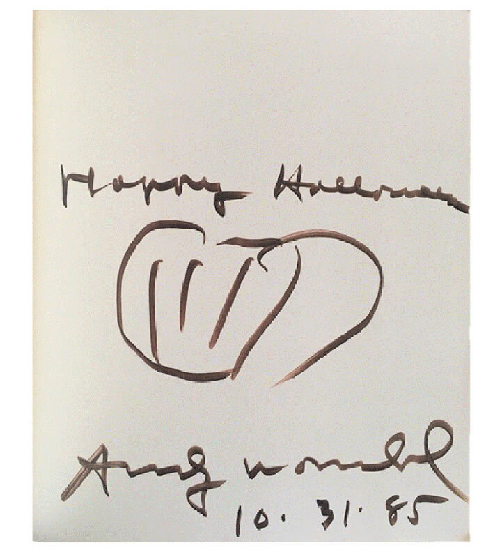 """Andy Warhol, '""""HAPPY HALLOWEEN"""", Exhibition Catalogue, Signed Twice / Inscribed """"Happy Halloween, 10-31-85"""" with Pumpkin Drawing, """"Andy Warhol/ Das Graphische Werk 1962-1980"""", UNIQUE', 1985, Drawing, Collage or other Work on Paper, Blk marker on paper., VINCE fine arts/ephemera"""