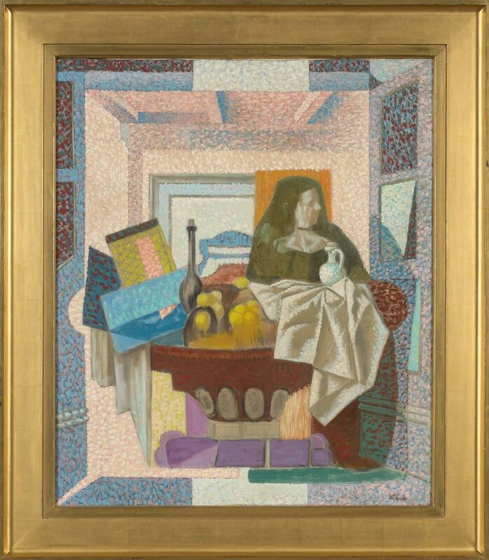 Francis Criss, 'Still Life with Figure', circa 1950, Painting, Oil and pencil on canvas, Doyle