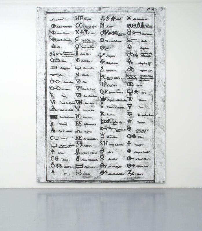 Matt Mullican, 'Untitled (Diderot, Symbols, Diptych)', 2012, Painting, Two oil-stick rubbings on canvas, Micheline Szwajcer