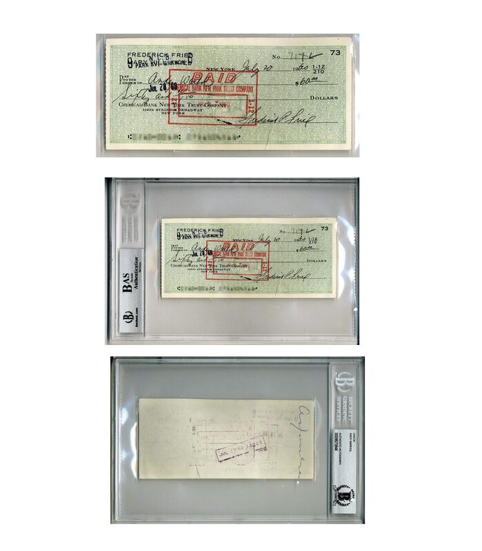 """Andy Warhol, '""""Window Dresser Check"""",  To Andy (signed) From Fredrick Fried Director at Bonwit Teller', 1960, Ephemera or Merchandise, Ink on Paper, VINCE fine arts/ephemera"""