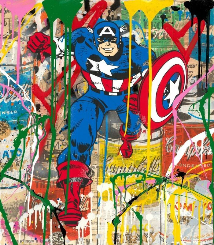 Mr. Brainwash, 'Captain America', 2018, Drawing, Collage or other Work on Paper, Silkscreen & Mixed Media on Paper., Artelandia Gallery
