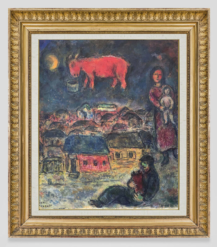 Marc Chagall, 'La nuit', 1974, Painting, Oil and ink on canvas, Opera Gallery