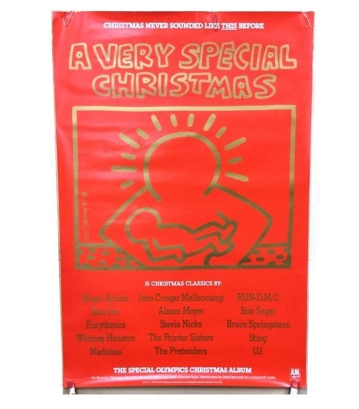 """Keith Haring, '""""A Very Special Christmas"""", 1987, Promotional Poster, The Special Olympics Christmas Album, A & M Records, RARE', 1987, Ephemera or Merchandise, Lithograph on paper, VINCE fine arts/ephemera"""