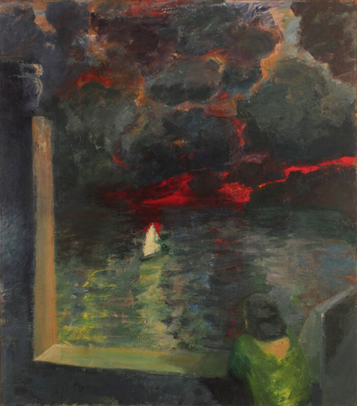 Elmer Bischoff, 'Figure at Window with Boat', 1964, Painting, Oil on canvas, George Adams Gallery