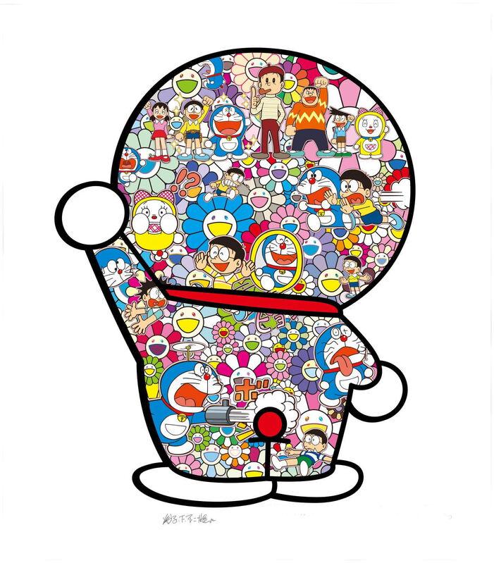 Takashi Murakami, 'Mr. Fujiko F. Fujiro and Doraemon Are in the Field of Flowers', 2020, Print, Silkscreen, Curator Style
