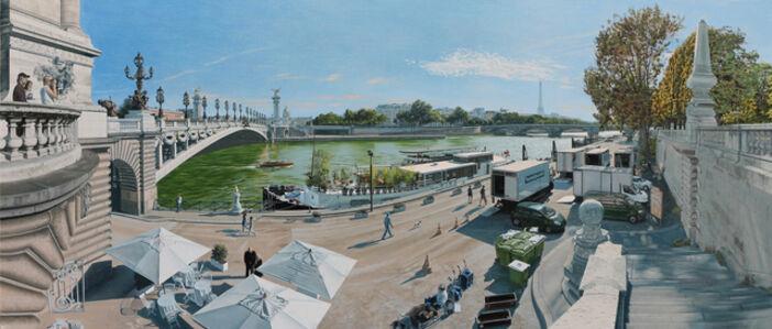 David Wheeler, 'A Stroll by the Seine (Late Afternoon Paris)'