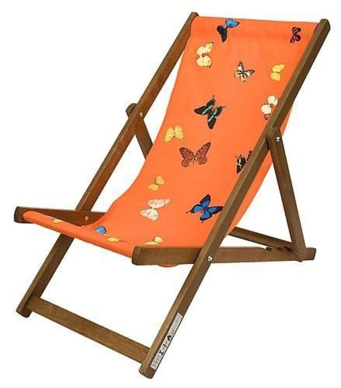 Damien Hirst, 'Deck chair (Orange)', 2008, Design/Decorative Art, Merpauh timber frame and sail cloth fabric, Weng Contemporary