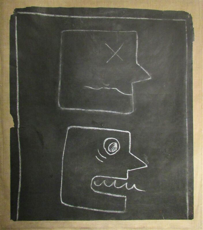 Keith Haring, 'Untitled (Two Faces)', 1982, Other, Original chalk subway drawing (paper mounted on canvas), Taglialatella Galleries