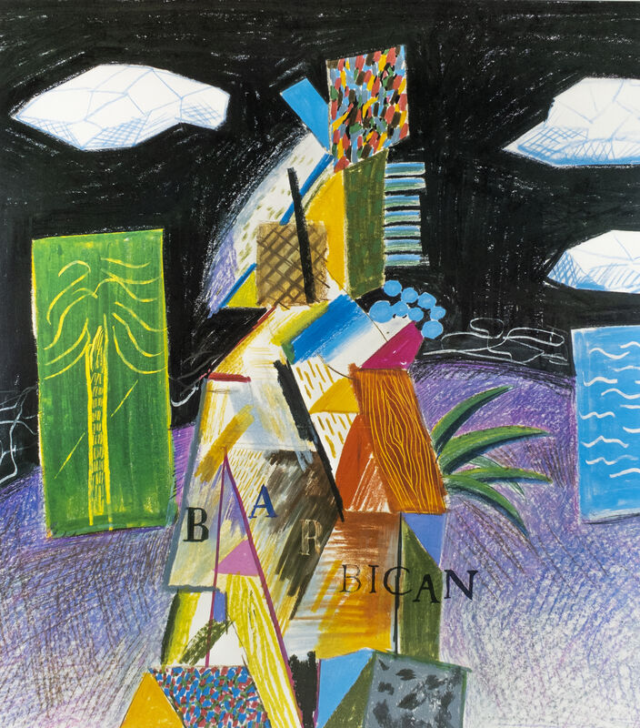David Hockney, 'Barbican Centre for the Arts, Miami 1982 (Detail from Cubistic Bar 1980)', 1982, Posters, Offset lithograph, Petersburg Press