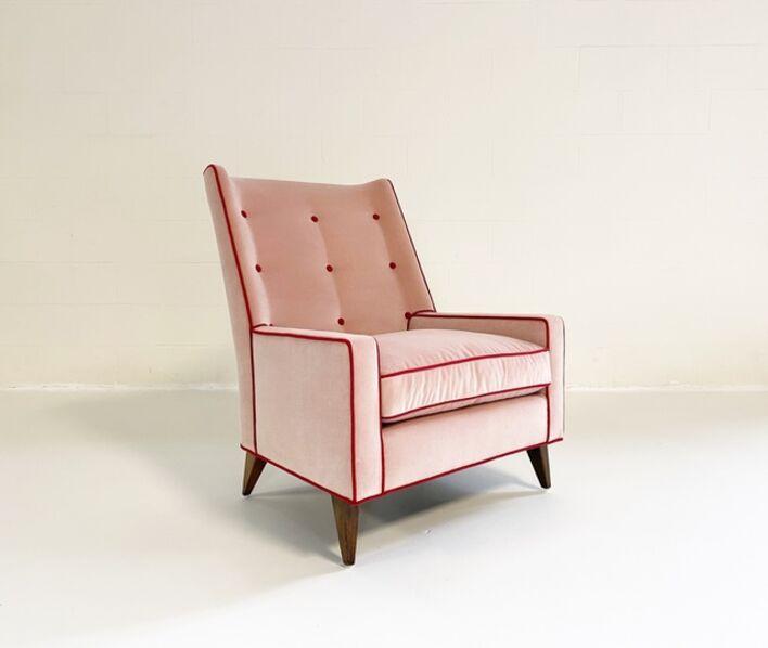 Milo Baughman, 'Model 314 Lounge Chair in Schumacher Velvet and Loro Piana Cashmere', mid 20th century-restored in 2020
