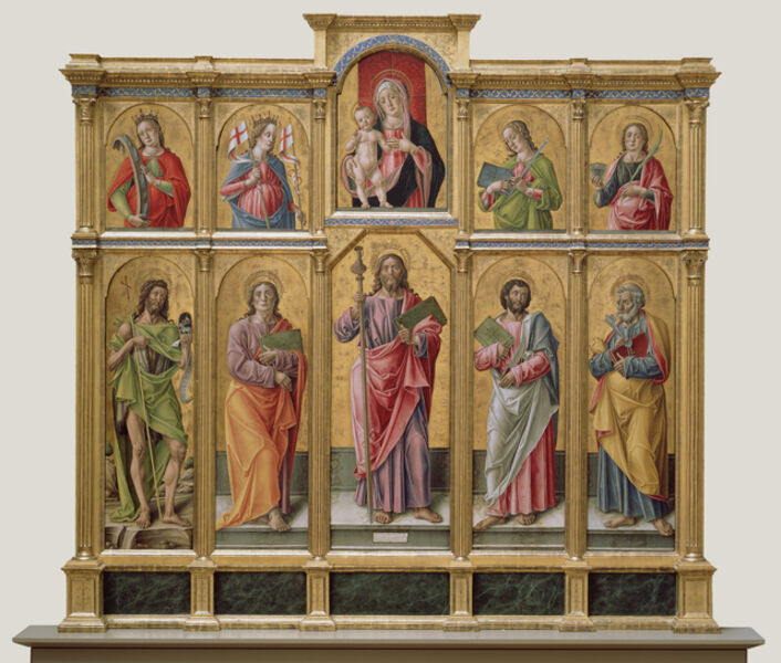 Bartolomeo Vivarini, 'Polyptych with Saint James Major, Madonna and Child, and Saints', 1490